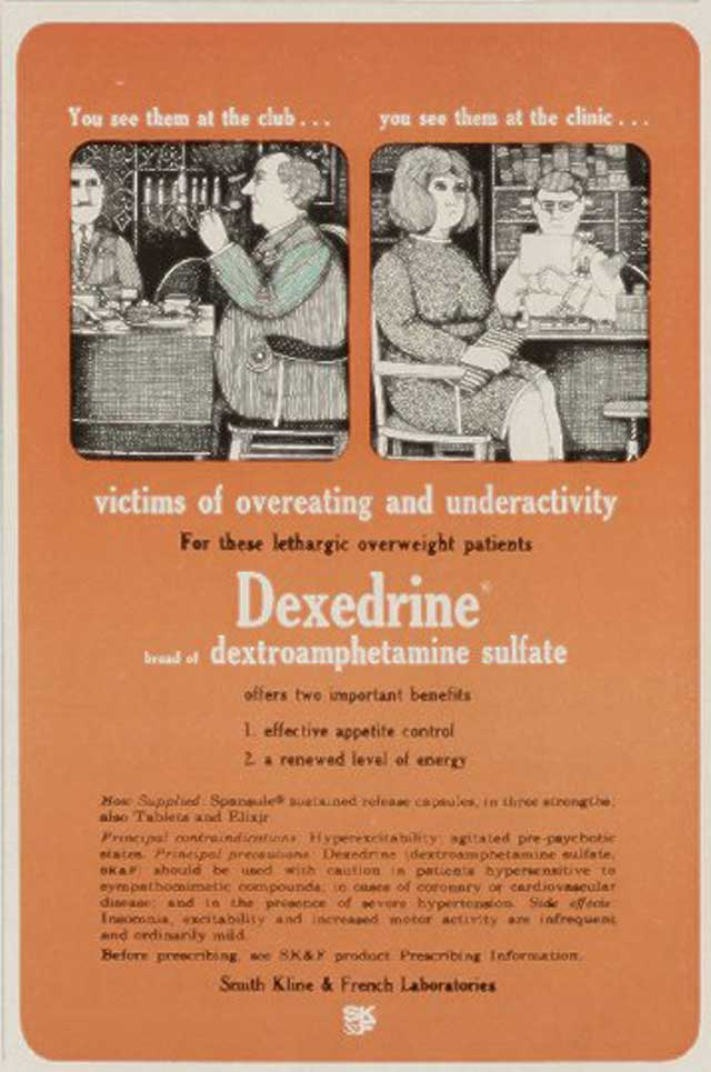 Victims of overeating and underactivity: for these lethargic overweight patients, Dexedrine... offers two important benefits: 1. effective appetite control and 2. a renewed
