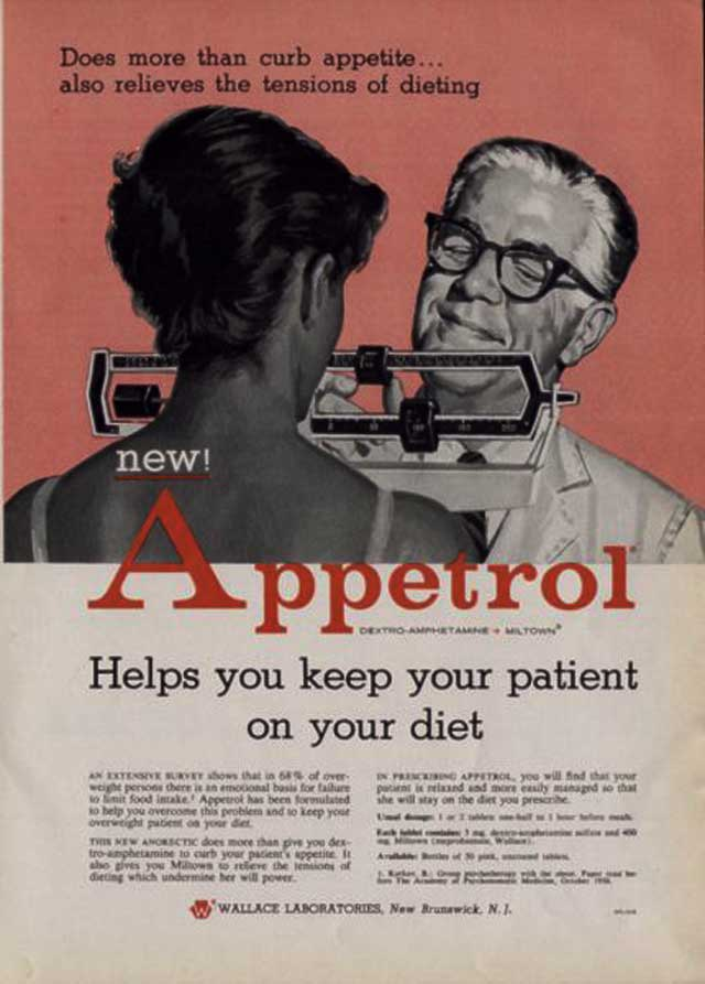 "ABOVE: ""Does more than curb appetite...also relieves the tensions of dieting."" (Magazine advertisement circa 1959, Wallace Laboratories.)"